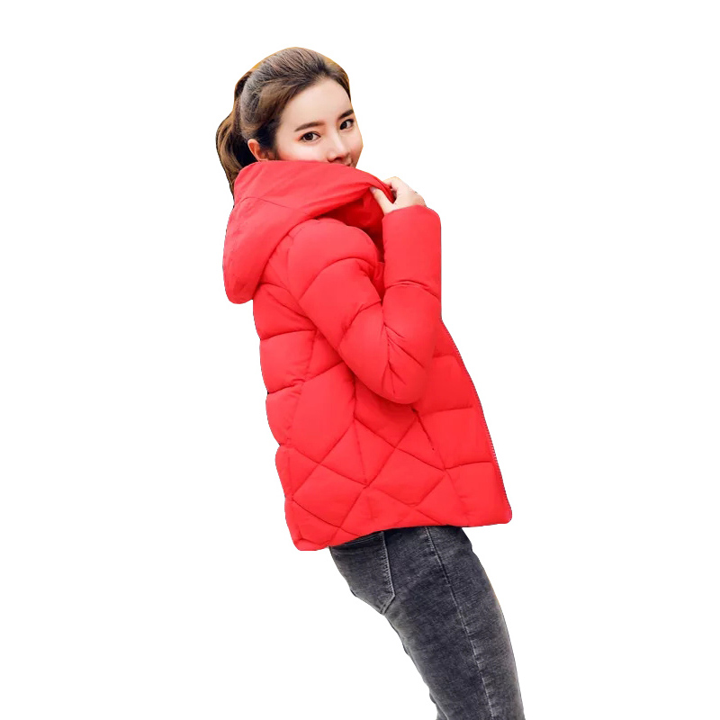 Hooded   Parka   Women Winter Jacket Short Down Cotton Padded Womens Coat Winter Jacket Women Solid Color   Parka   Winter Jackets