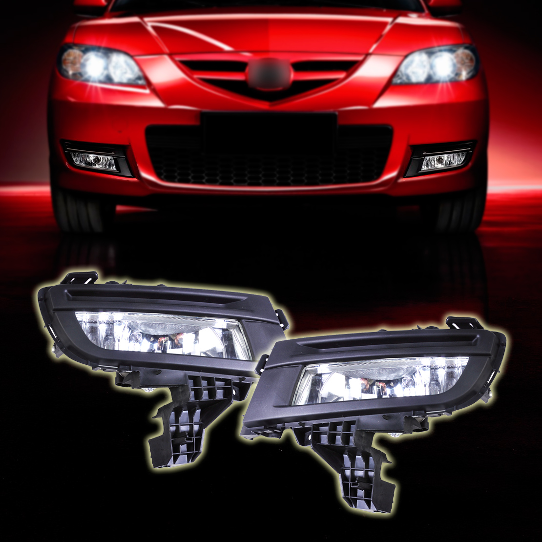 DWCX Pair Front Fog Light Lamp 9006 12V 51W Front Left + Right Side Replacement for Mazda 3 2007 - 2009 without Wiring Harness