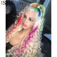 Фиолетовый Полный парик фронта шнурка синие человеческие волосы парики прозрачного зеленого кружева фронта человеческих волос Кудрявые ц