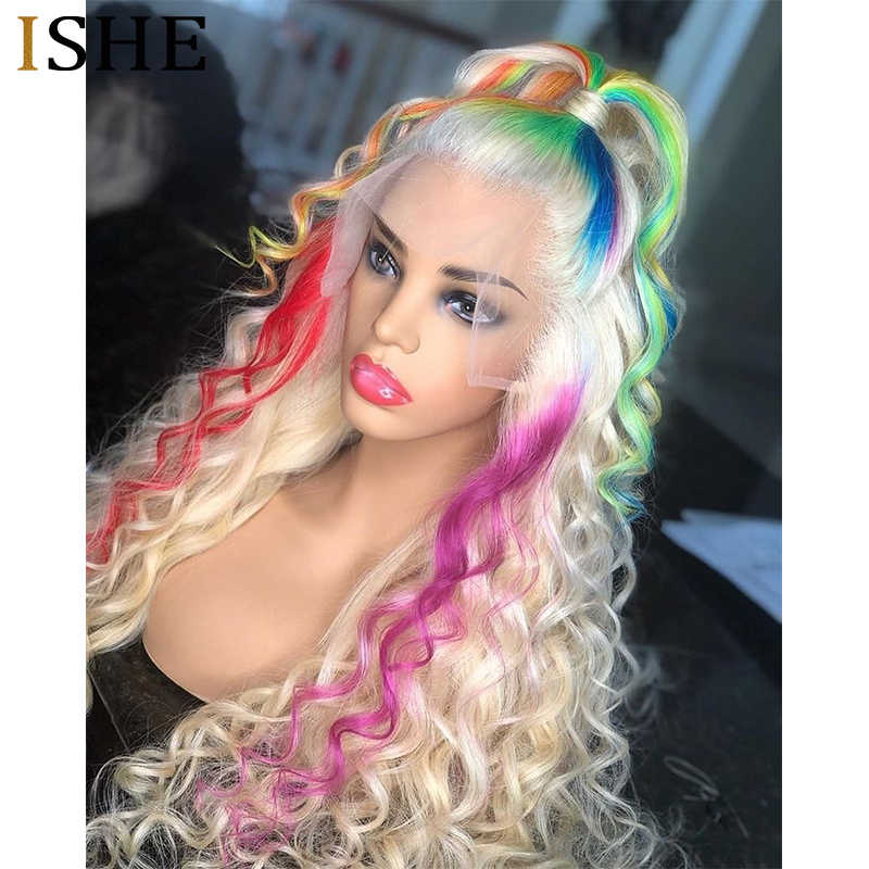 Púrpura la peluca con malla frontal azul pelucas de cabello humano transparente encaje verde frente pelo humano rizado de color pelucas de cabello humano preplucked