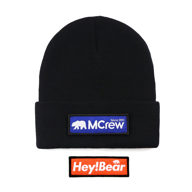 2018 New Arrival Unisex Black Skullies Beanies Skiing Knitted Hats Casual Gay Bear Hip-Hop Wool Caps 2 Replace Cloth Badge Patch