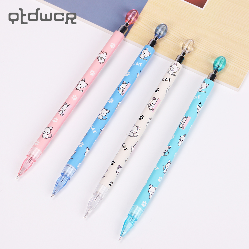 4 PCS 0.7MM Cute Kawaii Plastic Mechanical Pencil Lovely Cat Paw Press Automatic Pen for Kid Gift School Supplies