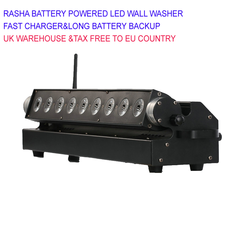 4X Lot Rasha 2.4Ghz 9*18W 6in1 RGBAW UV Battery Operated Wireless DMX512 LED Wall Washer Light For Bar Disco 110 260V Remote
