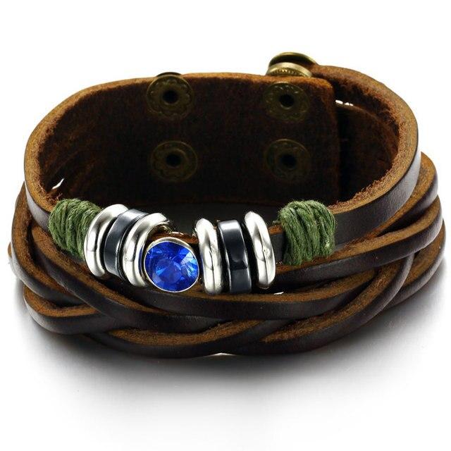 f53abc5a91bfe US $4.99 |Bracelet Men Brown Genuine Cow Leather Bracelet Vintage Shinning  Crystal Wrap Man Accessories Jewellery Bracciali Uomo-in Wrap Bracelets ...