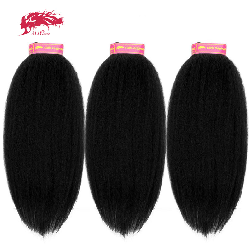 Ali Queen Hair Products Kinky Straight Brazilian Unprocessed Virgin Human Weave Bundles Extension 14-24 Inch Double Drawn Deals
