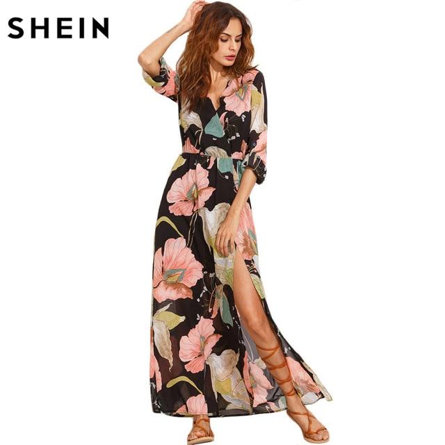 SHEIN Summer Beach Maxi Dresses Long Elegant Boho Wear Multicolor Floral Print V Neck Split Side Long Sleeve Maxi Dress