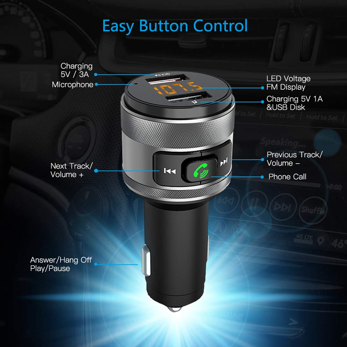 C57 Dual USB Ports Quick charge 3.0 <font><b>Car</b></font> <font><b>Charger</b></font> <font><b>Bluetooth</b></font> <font><b>FM</b></font> <font><b>Transmitter</b></font> <font><b>Car</b></font> Kit <font><b>MP3</b></font> Music Player Wireless <font><b>FM</b></font> Radio <font><b>Adapter</b></font> image