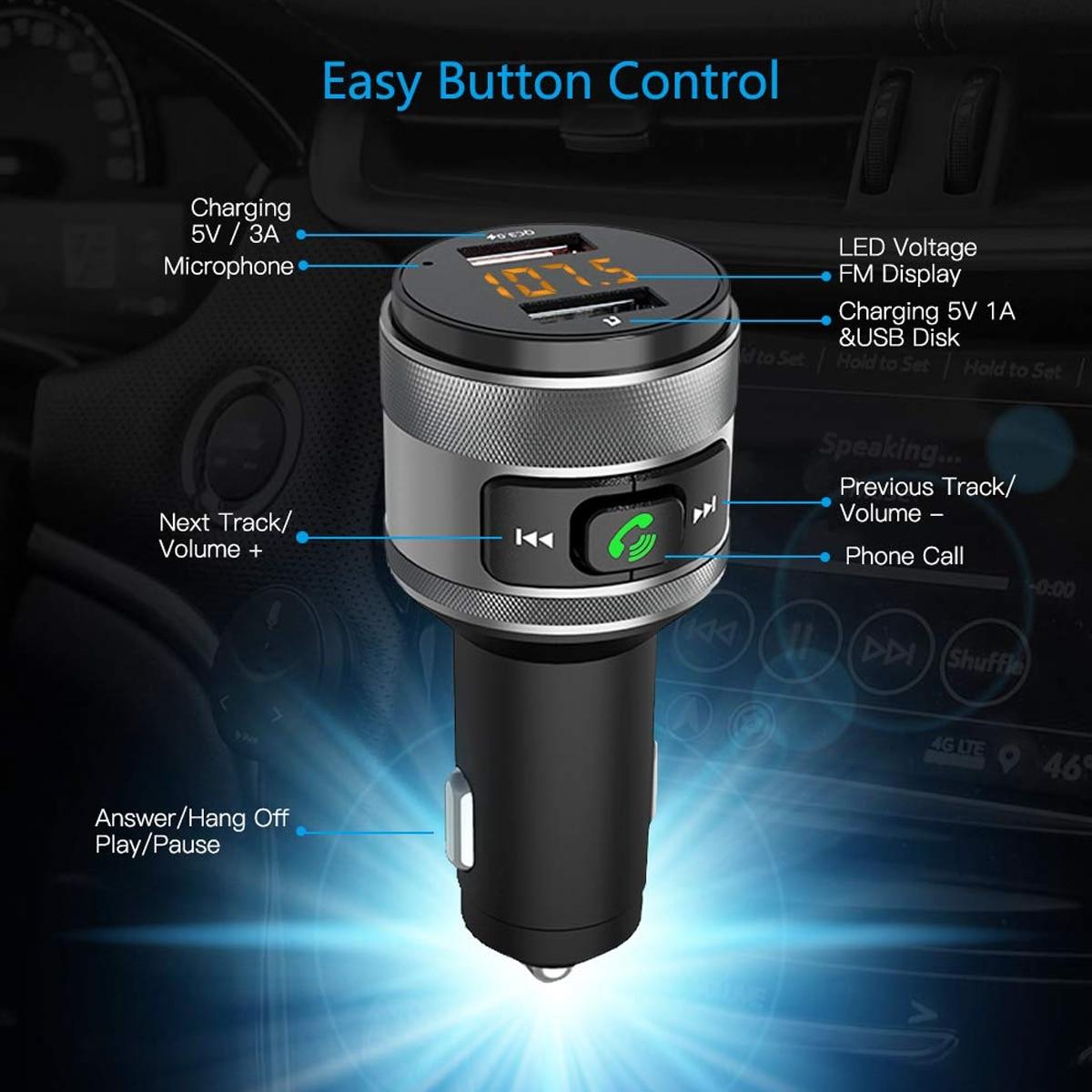 C57 portas usb dupla carga rápida 3.0 carregador de carro bluetooth transmissor fm carro kit mp3 player música sem fio adaptador rádio fm