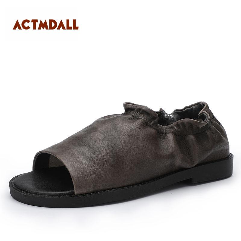 Protège Femmes coffee Sandales Black Faible Cuir Chaussures talon Personnalité 2019 En Talon D'origine Printemps Toe Peep Femme Rétro Été xCnZSUqOw6