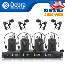 Top quality!!Debra Audio D-140 4Channel with 4Lavalier&4Headset Mic UHF Wireless Microphone