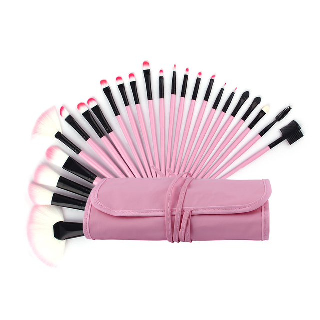 New 32pcs Fashion Pink Super Soft Cosmetics Makeup Brushes with Pouch Bag Powder Foundation/Blusher/Eyeshadow Makeup Brush Set