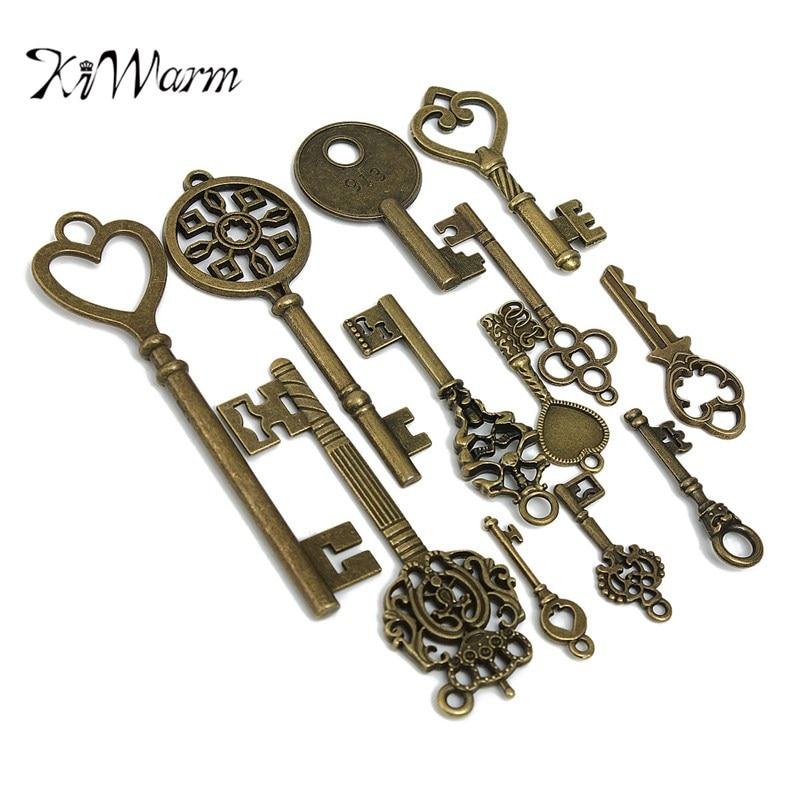 KiWarm 12pcs Assorted Antique Vintage Old Look Large Skeleton Keys Bronze Pendants Key Necklace Hanging Decor DIY Craft