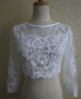 White Lace Wedding Jacket Long Sleeves Scoop Neck Applique Beads Bridal Jacket Zipper Back Lace Jacket for Weddings Real Picture