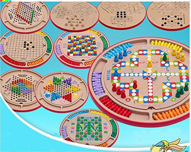 ФОТО 10 in 1 Wood Set-Flying Chess Chinese Checkers Gobang Animal Checkers Snakes and Ladders Single Noble The Fox and Goose