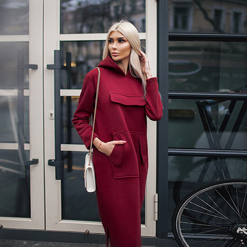 2018 Women Autumn Winter Dress With Pockets Long Sleeve Hem Split Black Red Blue Hooded Dress Plus Size Warm Loose Fashion Dress