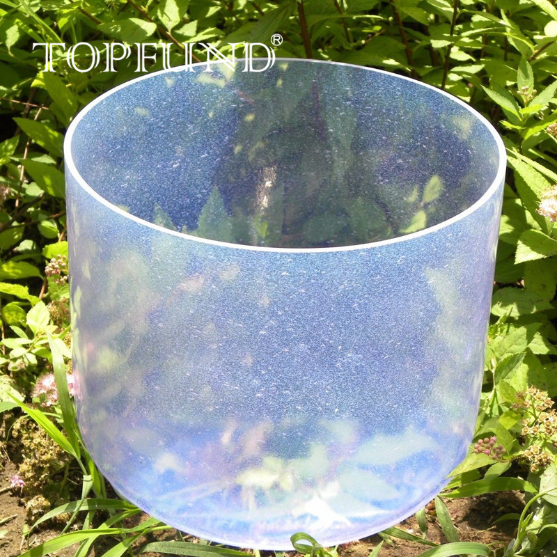 TOPFUND Light Gem Sapphire Fusion E Solar Plexus Chakra Clear Quartz Crystal Singing Bowl 7 With Free Mallet and O-Ring