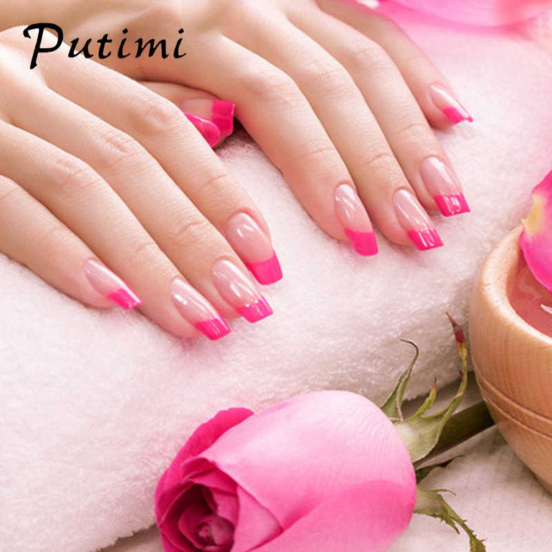 Putimi 100 pcs Half-cover Nail Tips Natuurlijke/transparant Acryl UV Gel False Nail Tips Manicure Half Fake nail Art Tips Extension
