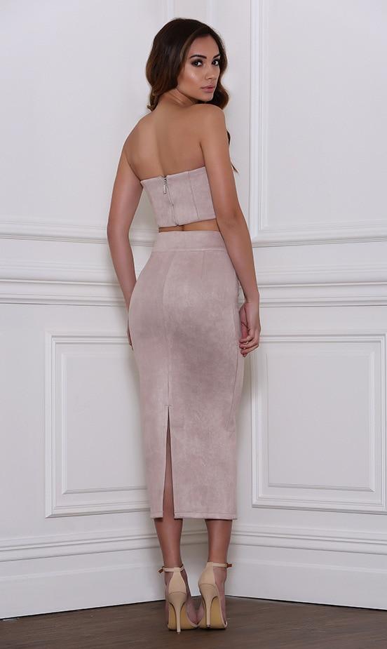 Aliexpress.com : Buy Suede Velvet Midi Skirt Suit Women Sexy Tube ...