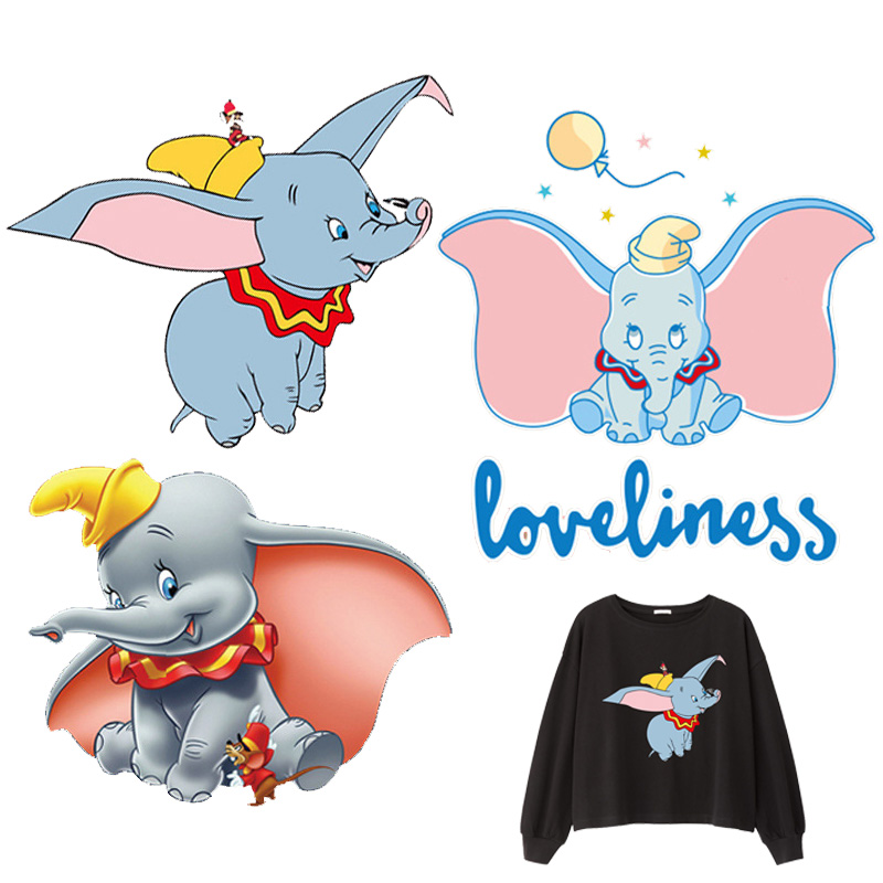 Dumbo elephant Patch Iron on Heat Transfer Printing Patches Stickers for Clothes DIY Appliques Washable A