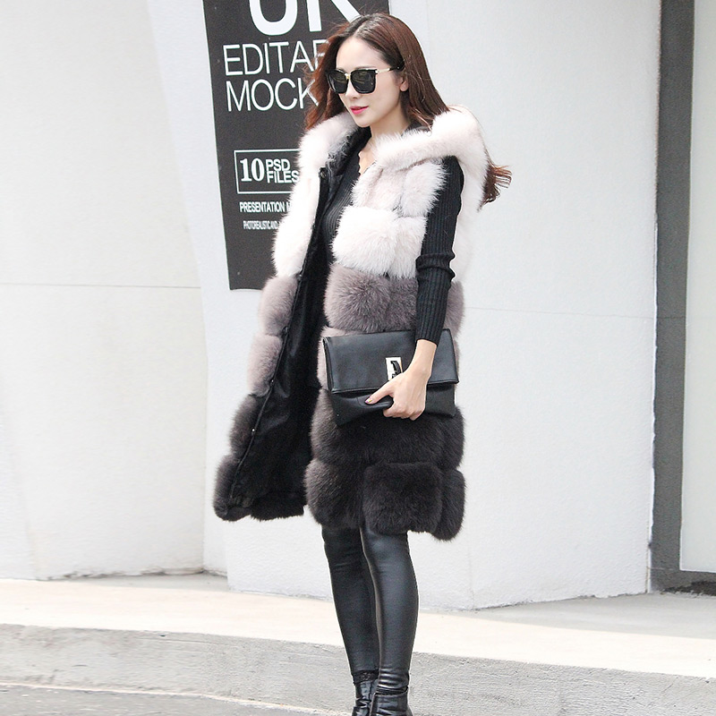 Winter Fur Vest For Women,Genuine Real Fox Fur Vest With Hood,Multiple Colored Real Fox Fur Coat,Natural Fox Fur Waistcoat,10441