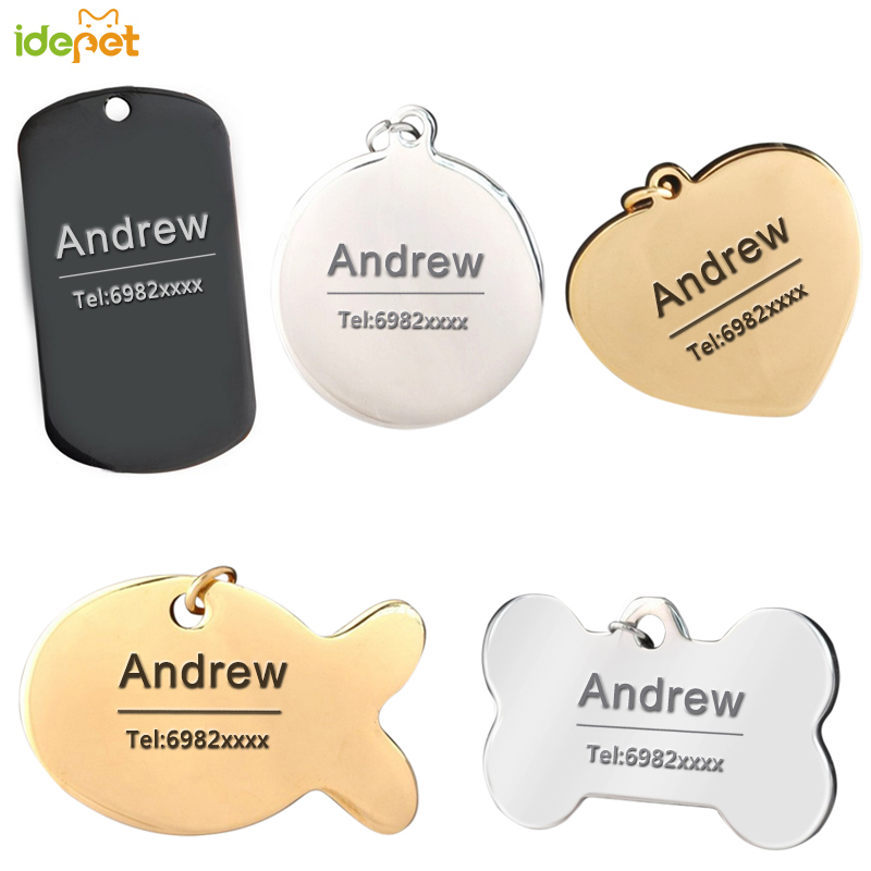 Idepet Free Engraving Pet ID Dog Tags Collars Stainless Steel Cat Tag Customized Dog Collar Accessories Telephone Name Tags 38S2 image