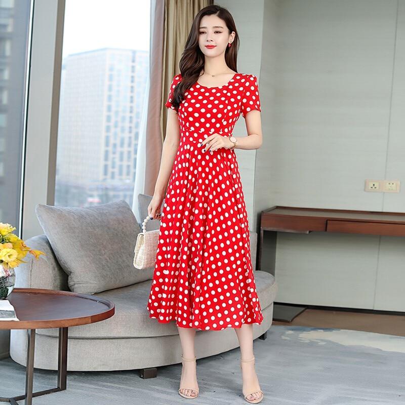 Women Short Sleeve Dot Print Dress Summer Dresses Casual Female Long Dress