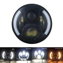 7 Projector LED Headlight White Halo Angel Eye For Harley Street Glide Road King Glide