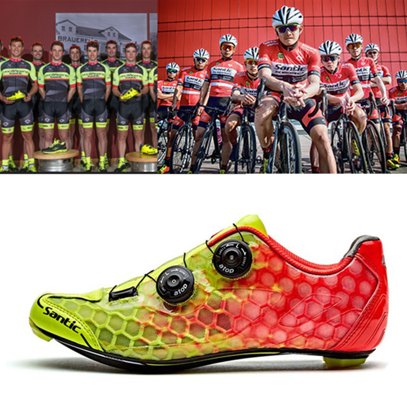 3340809446a25 Santic 10 Grade Carbon Fiber Cycling Shoes Men Ultralight Road Bike Shoes  Breathable Self Locking PRO Racing Team Bicycle Shoes-in Cycling Shoes from  Sports ...