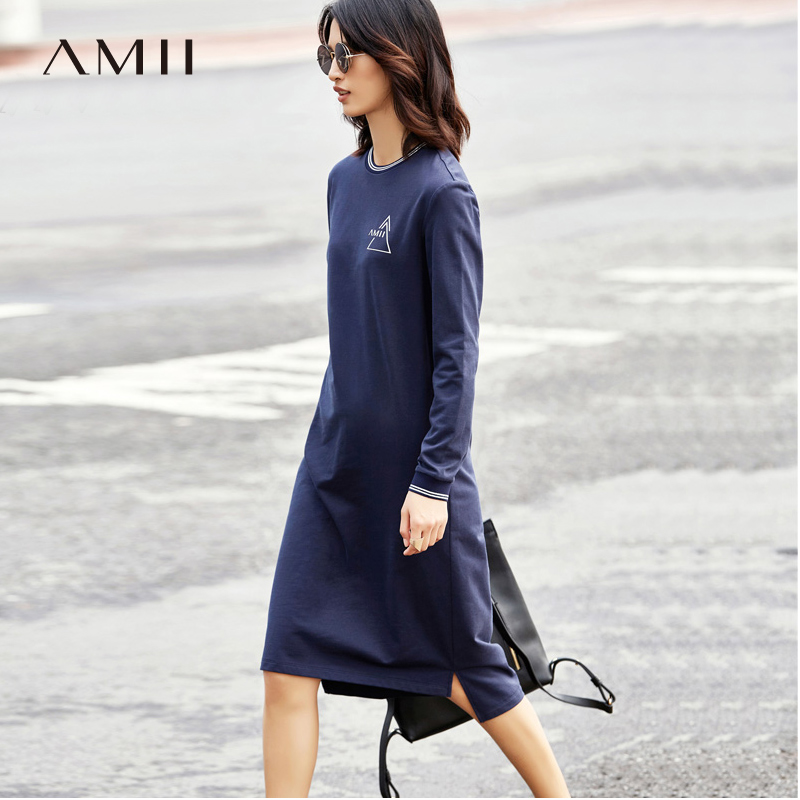 Amii Minimalist Casual Women Dress 2018 Print O Neck Long Sleeve Mid-Calf Dresses