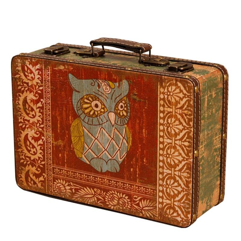 Europe Creative Set de deux hibou rectangulaire boîte de rangement rétro en bois coffre au trésor Antique boîtes emballage boîte ornements cadeaux