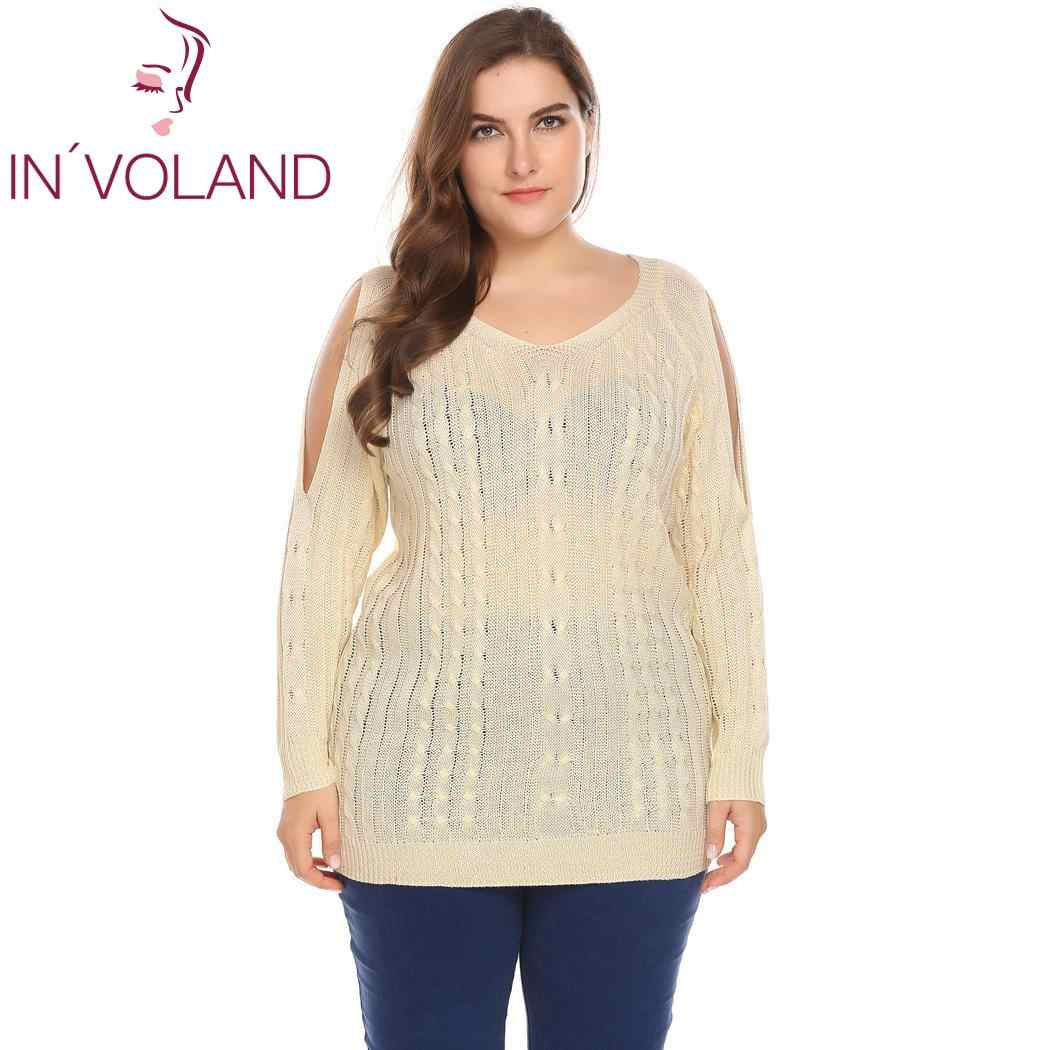 IN'VOLAND Fashion Oversize Vrouwen Trui Koude Schouder Kabel V-hals Casual Knit Vrouwen Plus Size Solid Herfst Trui Pullover