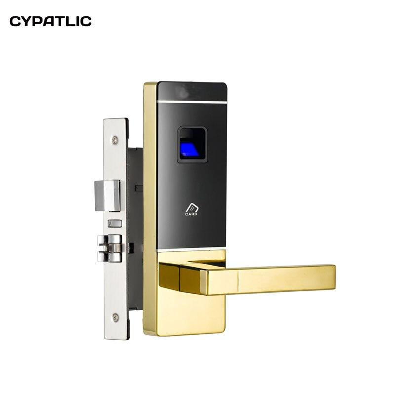 CYPATLIC JCF3301 Goden Couleur Électrique Clé Carte Serrure De Porte Fingeprint Serrure Biométrique Avec Double Langue Mortaise