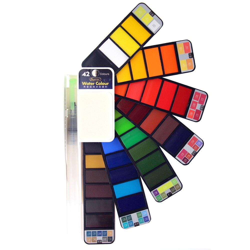 Superior Portátil Conjunto Com Pincel Tinta Aquarela Sólida Brilhante da Cor de Água Pintura Conjunto Pigmento Para A Arte Suprimentos