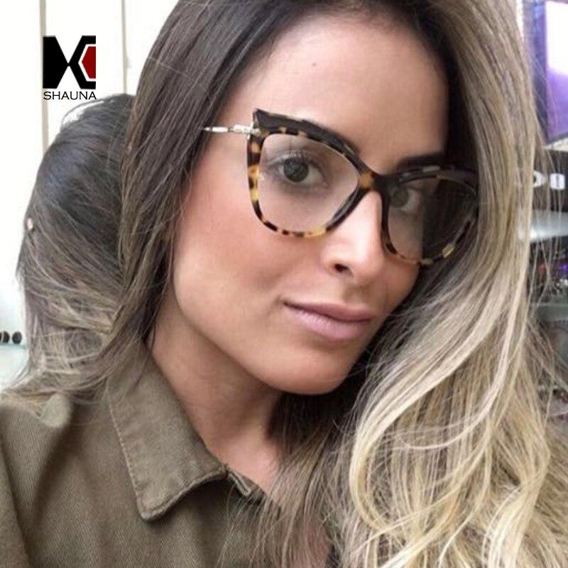 SHAUNA New Arrival Women Cat Eye Glasses Frame Trending Ladies Blue Rays Protection Lens Glasses UV400