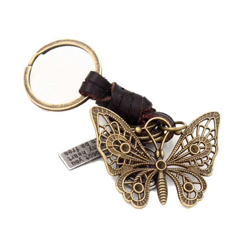 4.8*3.8 см полый металлический бабочка брелок Подвеска для Для женщин Для мужчин ручной работы Пояса из натуральной кожи брелок кольцо сумка П...