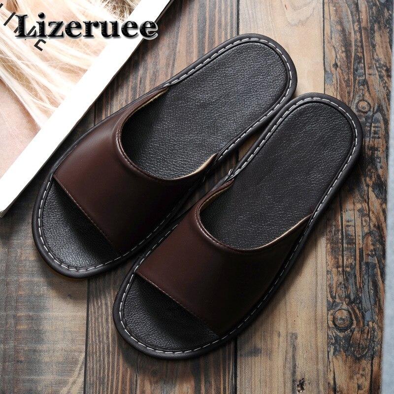 Hot Sale Men Home Slippers Linen Home Slippers Indoor Bedroom Sandals Couple Sheepskin Leather Floor Slippers ME121