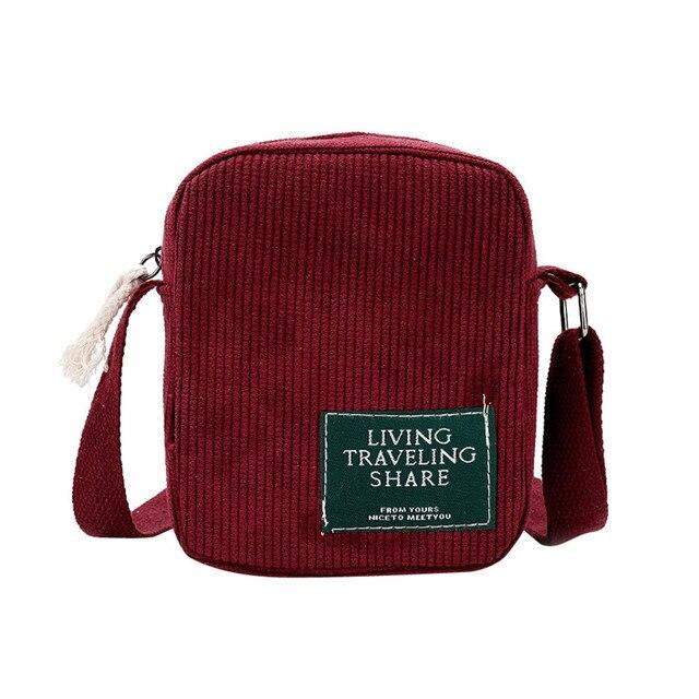 54a552439a Veludo vermelho Crossbody Bolsa Saco de Escola Estudante Estilo Preppy Bolsa  Das Mulheres Sacos de Viagem
