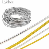 Lychee 10m Gold Silver Color Elastic Cord Round Rubber String Invitation Tag Rope Supplies