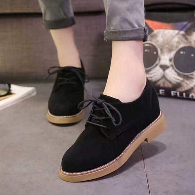 3306181caca9 2018 New Arrivals Women Oxford Shoes Woman Lace Up Casual Shoes Faux Suede Ladies  Shoes Black Low Heels Flats Zapatos Mujer 6835