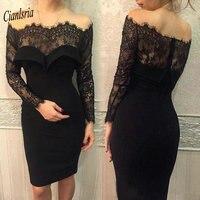 Черное вечернее платье с длинным рукавом и вырезом лодочкой, кружевное вечернее платье с открытыми плечами, короткое вечернее платье