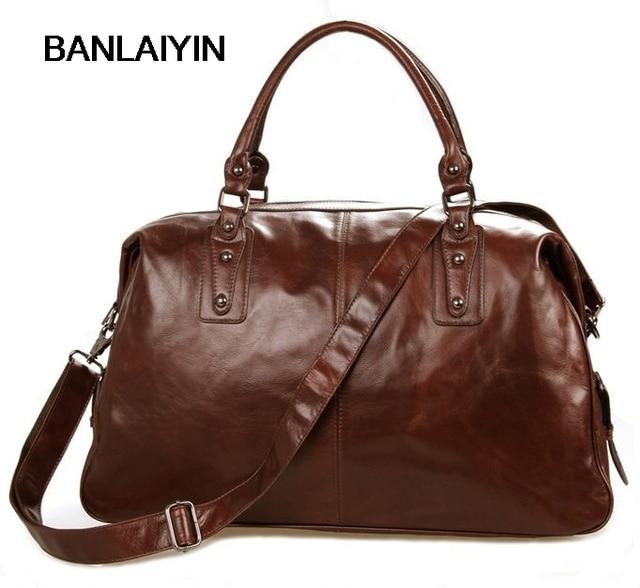 de25b591 Роскошные кожаные дорожные сумки Для мужчин Чемодан сумка большая кожаная  сумка Для мужчин выходные сумка ночь