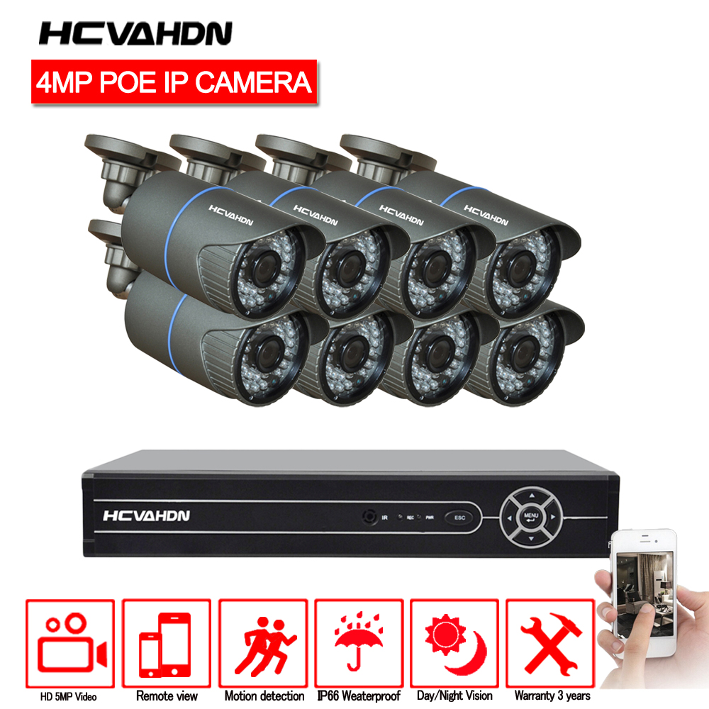 4 k HDMI POE NVR Kit 8CH 4.0MP 5MP 1080 p CCTV Sistema de Câmera de Segurança Ao Ar Livre Câmera IP P2P Vídeo conjunto Sistema De vigilância No HDD