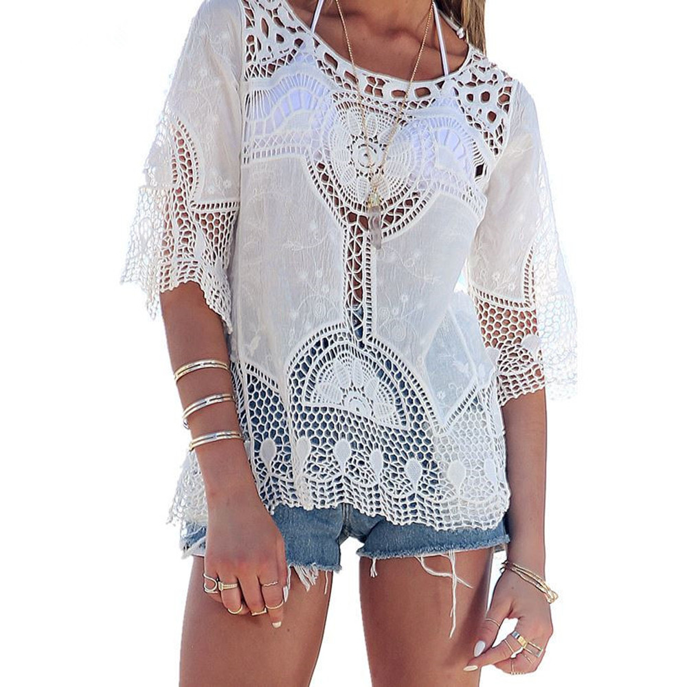 White Women Blouse Sexy Lace Crochet Boho Casual Shirt