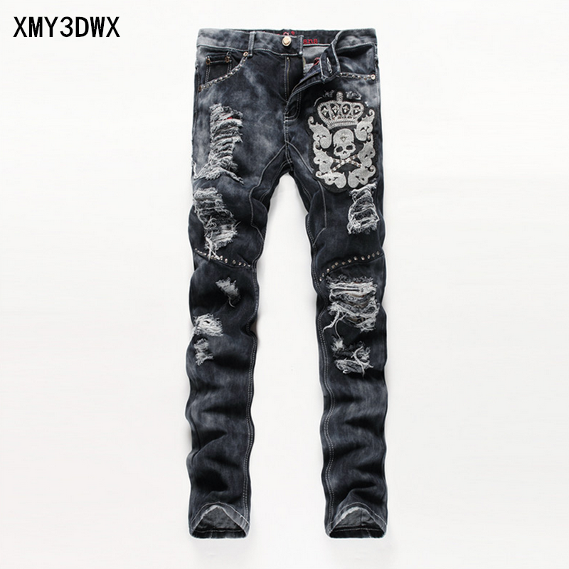 New 2017 Black Ripped Jeans Men With Holes Denim Super Skinny Famous Designer Brand Slim Fit Jean Pants Scratched Biker Jeans men s cowboy jeans fashion blue jeans pant men plus sizes regular slim fit denim jean pants male high quality brand jeans