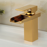 Golden bathroom waterfall mixer waterfall basin mixer tap golden waterfall tap gold tap sink mixer