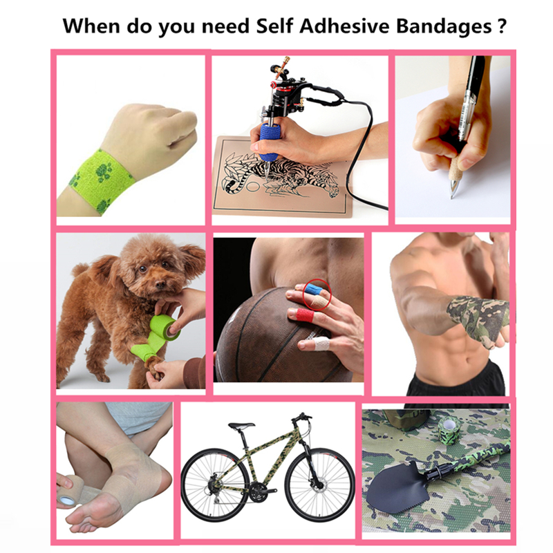 Elastic Sport Bandages Breathable Kinesiology Self adhesive Tape Wrap For Tattoo Grip Cover Ankle Knee Muscle Pet Tool 5CM 7 5CM in Tattoo accesories from Beauty Health