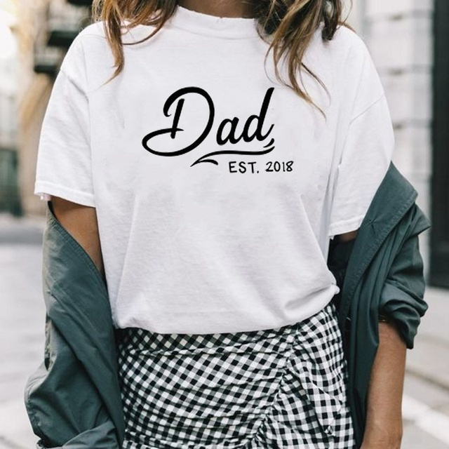 368c6cbc9f Dad EST Fashion Shirt Casual Printed T-shirt Couple Tops kawaii simple  style funny cotton grunge tumblr goth party tees t shirt