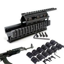Тактический Quad рейку универсальный Quad сказал рельсы направляющая для ствольной накладки w 12 шт. железнодорожных Чехлы для AK47 74 АКС Охота Стрельба Каза