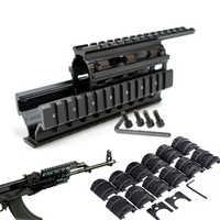 Montaje de carril cuádruple táctico Universal Quad dichos raíles barandilla w 12 Uds cubiertas de carril para AK47 74 AKS Caza tiro Caza