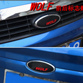 Wolf Logo Personality Emblem Badge Sticker 3D Carbon Fiber Front and Rear Cover for Ford Focus Car Styling